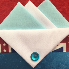 Baby Blue and White Pocket hankie with white flap and pin